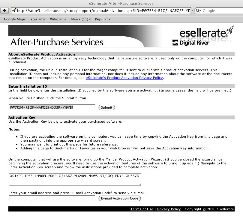 After-Purchase Services with Activation Key